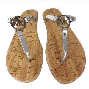 Silver Micheal Kors Jelly Cork Thong Sandal Size 8